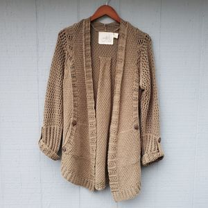 Angel of the North Open Front Green Cardigan Med